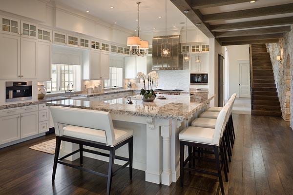Interior, horizontal, kitchen toward stairway, Hill residence, Chuluota, Florida; Reid Smith Architects; Tate Interiors; Zoltan Construction