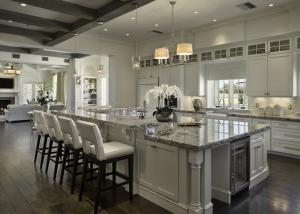 Interior, horizontal, kitchen toward living room, Hill residence, Chuluota, Florida; Reid Smith Architects; Tate Interiors; Zoltan Construction