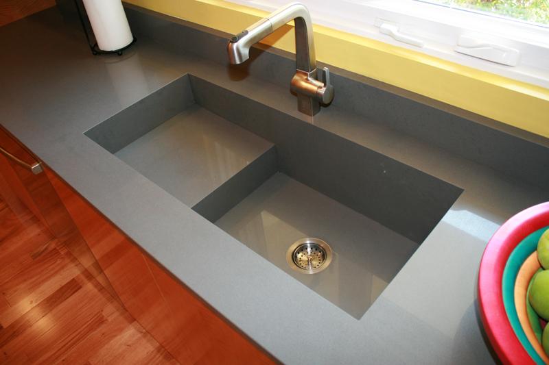 Silestone custom integrated sink zsolt granite corporation for Silestone kitchen sinks